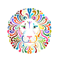 Lion face logo colorful sketch for your design vector