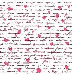 Love background with seamless hand drawn text and vector image
