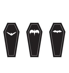 macabre coffin halloween icon set vector image