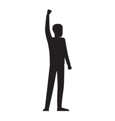 Man silhouette with red streamer vector