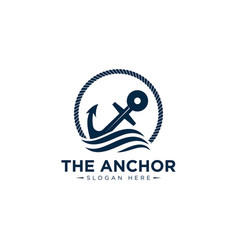 Marine retro emblems logo with anchor and rope vector