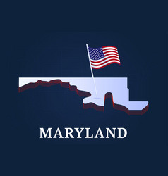 maryland state isometric map and usa national vector image
