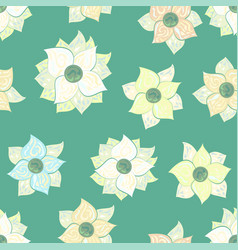 mosaic decorated flowers pattern in pastel colors vector image