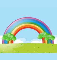 Nature scene with rainbow at daytime vector