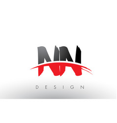 Nn n brush logo letters with red and black swoosh vector