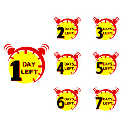 Number 1 2 3 4 5 6 7 days left countdown icon vector