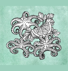 Octopus with lemon and parsley vector