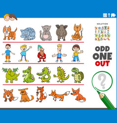 Odd one out picture game with funny characters vector