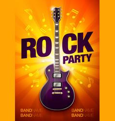 Orange rock festival concert party flyer or poster vector