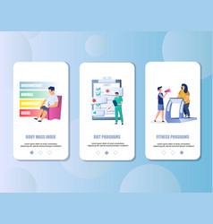 Overweight mobile app onboarding screens vector