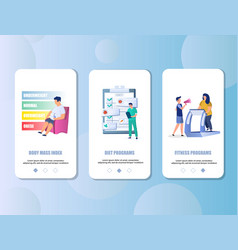 overweight mobile app onboarding screens vector image
