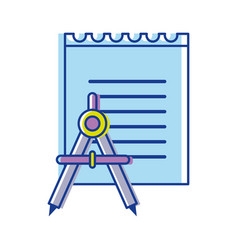 paper notebook with compass tool study vector image
