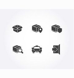 Parcel tracking delivery insurance and taxi icons vector