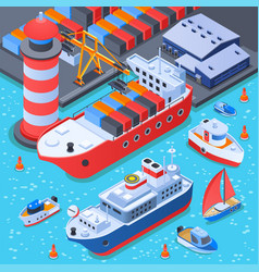 Port with ships isometric composition vector