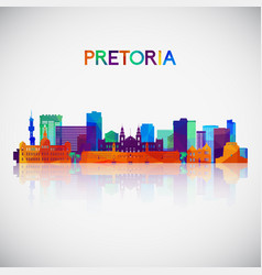 pretoria skyline silhouette in colorful geometric vector image