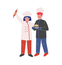 professional chef characters male and female vector image