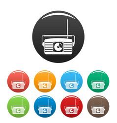 radio receiver icons set color vector image