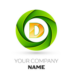 Realistic letter d logo in the colorful circle vector