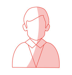 red silhouette shading half body faceless man with vector image