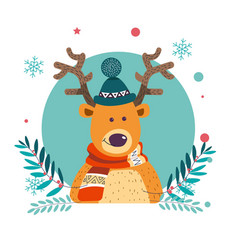 Reindeer wearing knitted warm hat winter vector