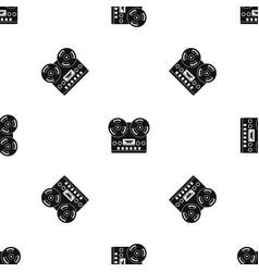 retro tape recorder pattern seamless black vector image