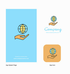 Safe world company logo app icon and splash page vector