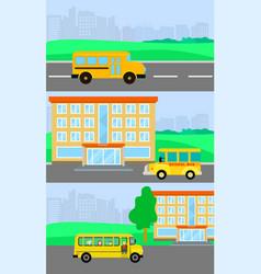 School bus kids banner concept set flat style vector