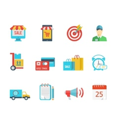 Set flat purchase and delivery icons vector