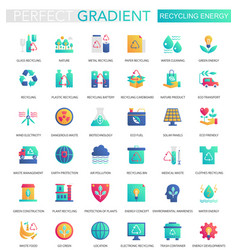 set trendy flat gradient recycling vector image