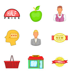 Shopping opportunity icons set cartoon style vector