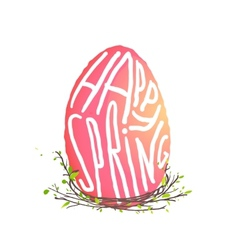 Single Easter Egg with Nest Floral Decoration in vector image