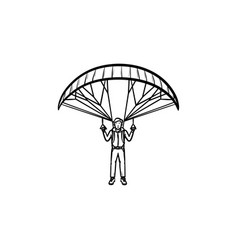 skydiver with parachute hand drawn outline doodle vector image