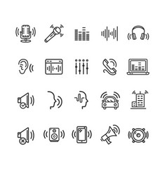 Sound wave signs black thin line icon set vector