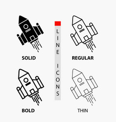 Space craft shuttle space rocket launch icon in vector