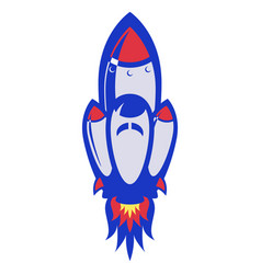 spaceship takes off in white background vector image
