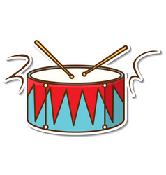 Sticker design with drum and drum sticks isolated vector