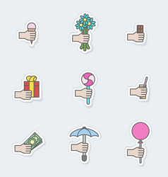 stickers gifts in hand vector image