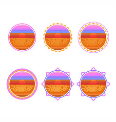 sunrise circle badge vector image