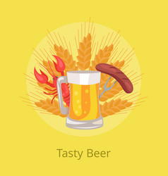 tasty beer poster grilled sausage on folk vector image