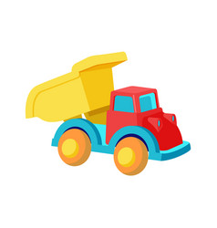 Toy dump truck plastic car in bright colors vector