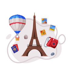 Travel and tourism attribute with eiffel tower as vector