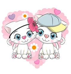 two cute cartoon kittens vector image