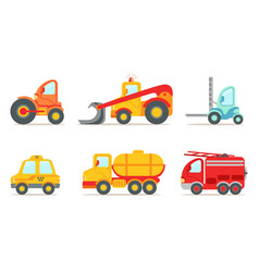 Vehicles and construction machinery set tractor vector