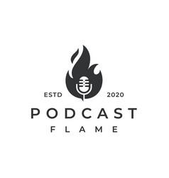 vintage retro fire flame podcast mic logo design vector image