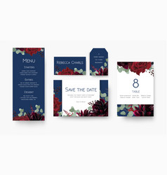 Wedding save the date menu label table number vector