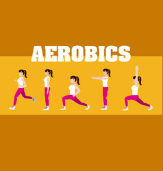 Woman and aerobics vector
