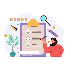 woman character voting and put tick and cross mark vector image