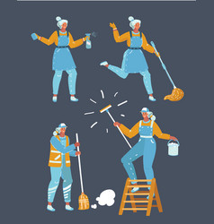 workers cleaning company vector image