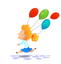 young cartoon girl colored balloons vector image