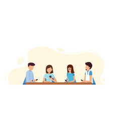 young people sitting in cafe chatting vector image